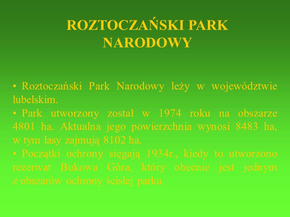 Roztoczański Park Narodowy leży w województwie lubelskim. Park utworzony został w 1974 roku na obszarze 4801 ha. Aktualna jego powierzchnia wynosi 848