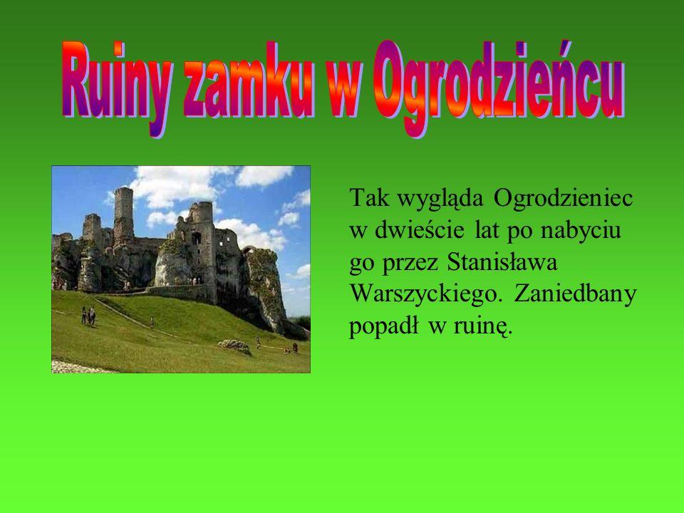 Tak wygląda Ogrodzieniec w dwieście lat po nabyciu go przez Stanisława Warszyckiego. Zaniedbany popadł w ruinę.