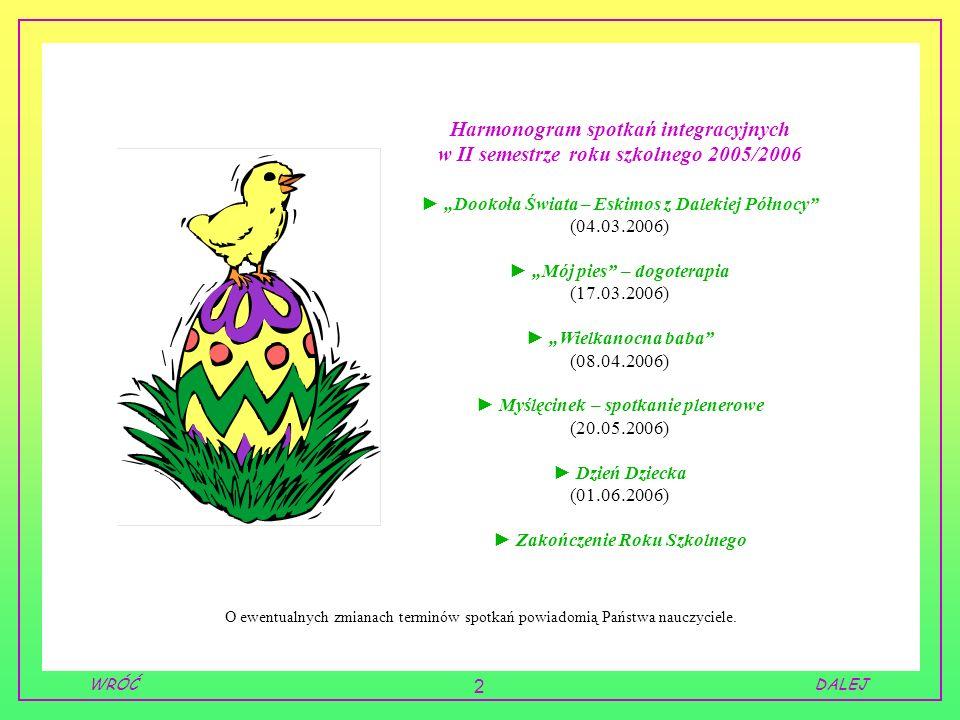 2 DALEJWRÓĆ Harmonogram spotkań integracyjnych w II semestrze roku szkolnego 2005/2006 Dookoła Świata – Eskimos z Dalekiej Północy (04.03.2006) Mój pi
