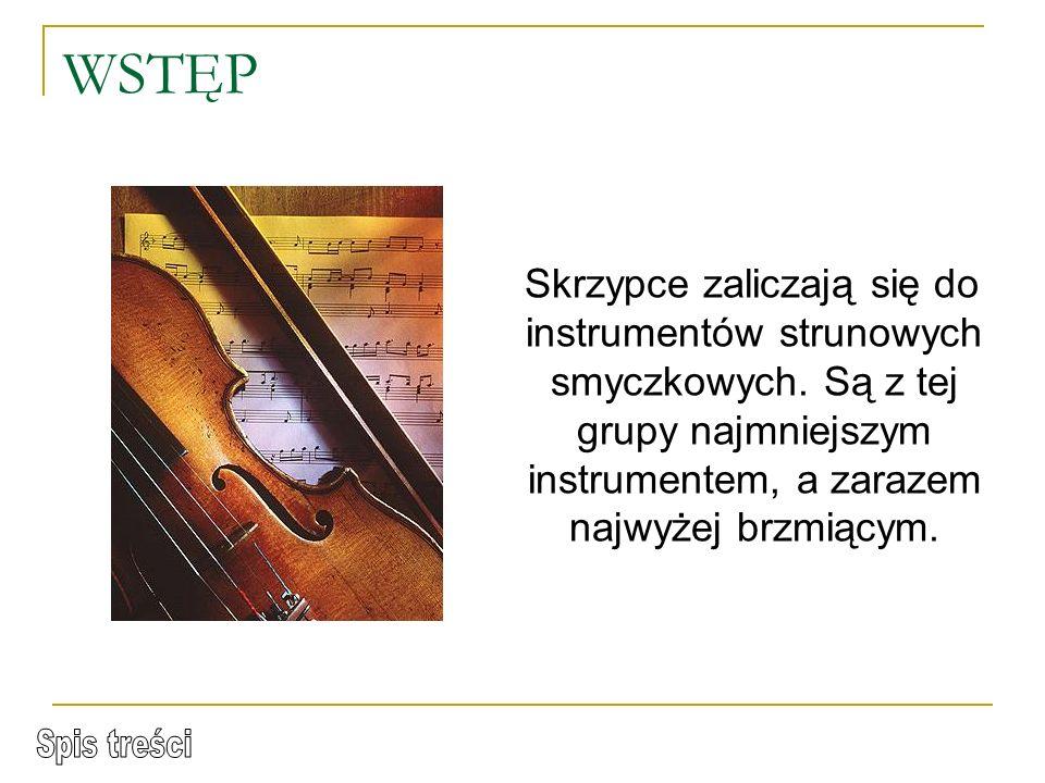 WSTĘP Skrzypce zaliczają się do instrumentów strunowych smyczkowych.