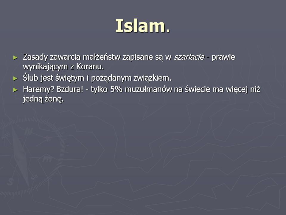 Islam. Zasady zawarcia małżeństw zapisane są w szariacie - prawie wynikającym z Koranu. Zasady zawarcia małżeństw zapisane są w szariacie - prawie wyn