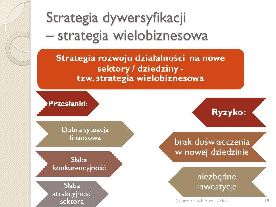 Strategia dywersyfikacji – strategia wielobiznesowa Przesłanki: Dobra sytuacja finansowa Słaba konkurencyjność Słaba atrakcyjność sektora Ryzyko: brak