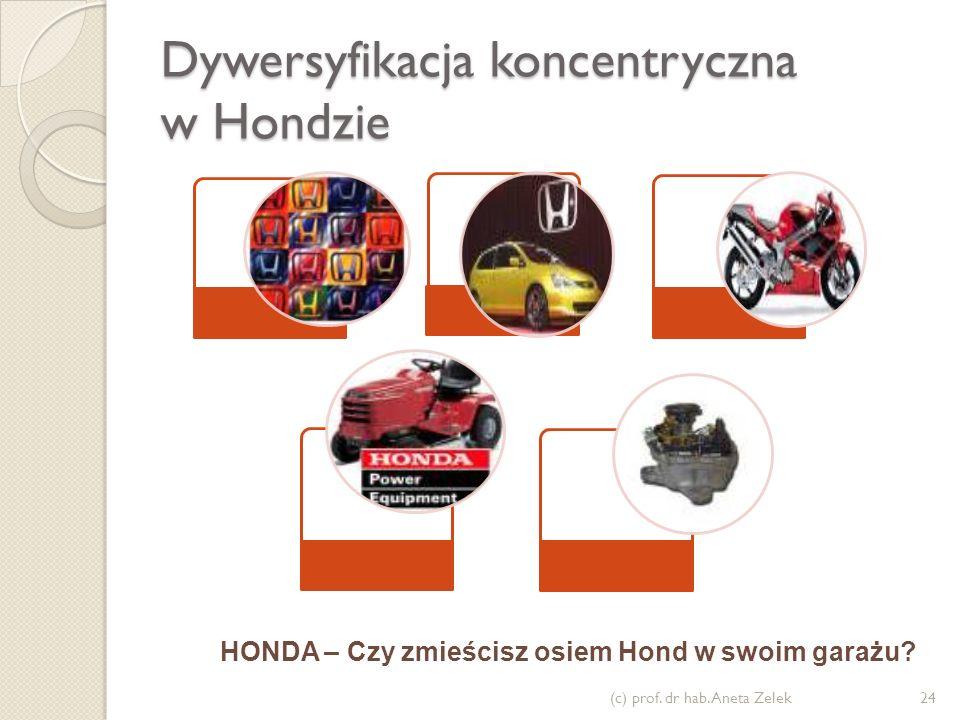 Dywersyfikacja koncentryczna w Hondzie (c) prof. dr hab. Aneta Zelek24 HONDA – Czy zmieścisz osiem Hond w swoim garażu?