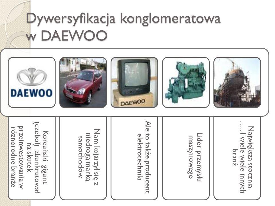 Dywersyfikacja konglomeratowa w DAEWOO Koreański gigant (czebol) zbankrutował na skutek przeinwestowania w różnorodne branże Nam kojarzył się z niedro