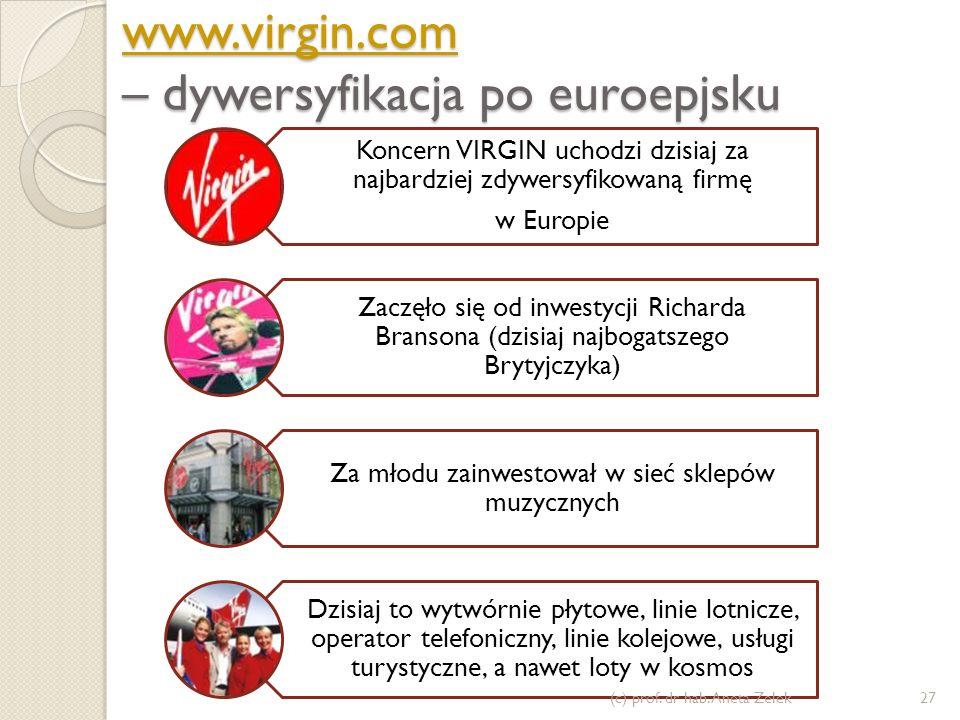 www.virgin.com www.virgin.com – dywersyfikacja po euroepjsku www.virgin.com Koncern VIRGIN uchodzi dzisiaj za najbardziej zdywersyfikowaną firmę w Eur