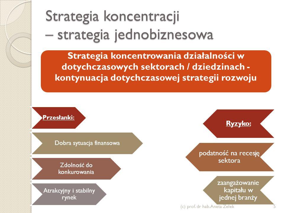 Strategia koncentracji – strategia jednobiznesowa Przesłanki: Dobra sytuacja finansowa Zdolność do konkurowania Atrakcyjny i stabilny rynek Ryzyko: po