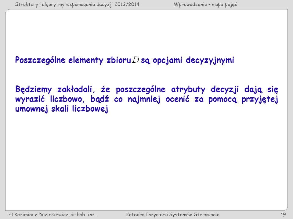 Struktury i algorytmy wspomagania decyzji 2013/2014Wprowadzenie – mapa pojęć Kazimierz Duzinkiewicz, dr hab.