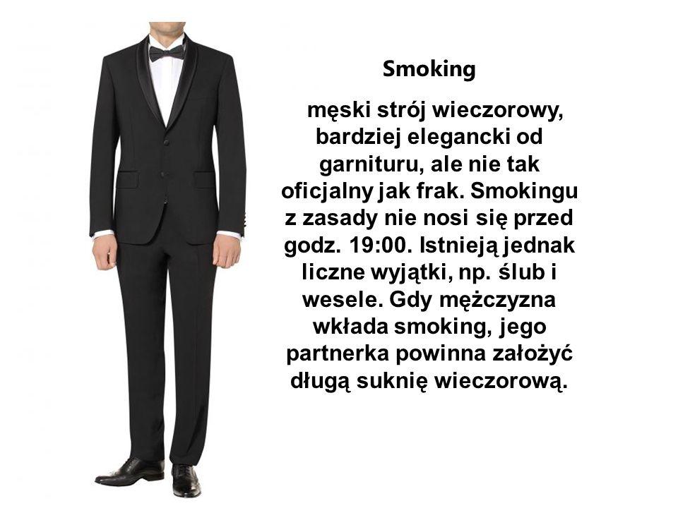 Smoking męski strój wieczorowy, bardziej elegancki od garnituru, ale nie tak oficjalny jak frak. Smokingu z zasady nie nosi się przed godz. 19:00. Ist