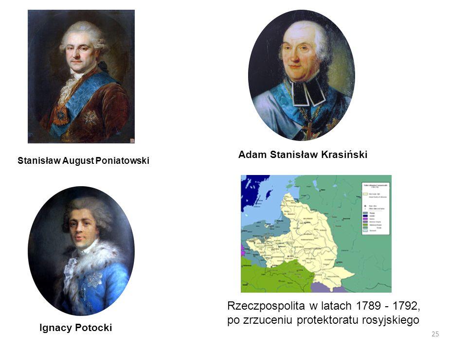 25 Rzeczpospolita w latach 1789 - 1792, po zrzuceniu protektoratu rosyjskiego Stanisław August Poniatowski Ignacy Potocki Adam Stanisław Krasiński