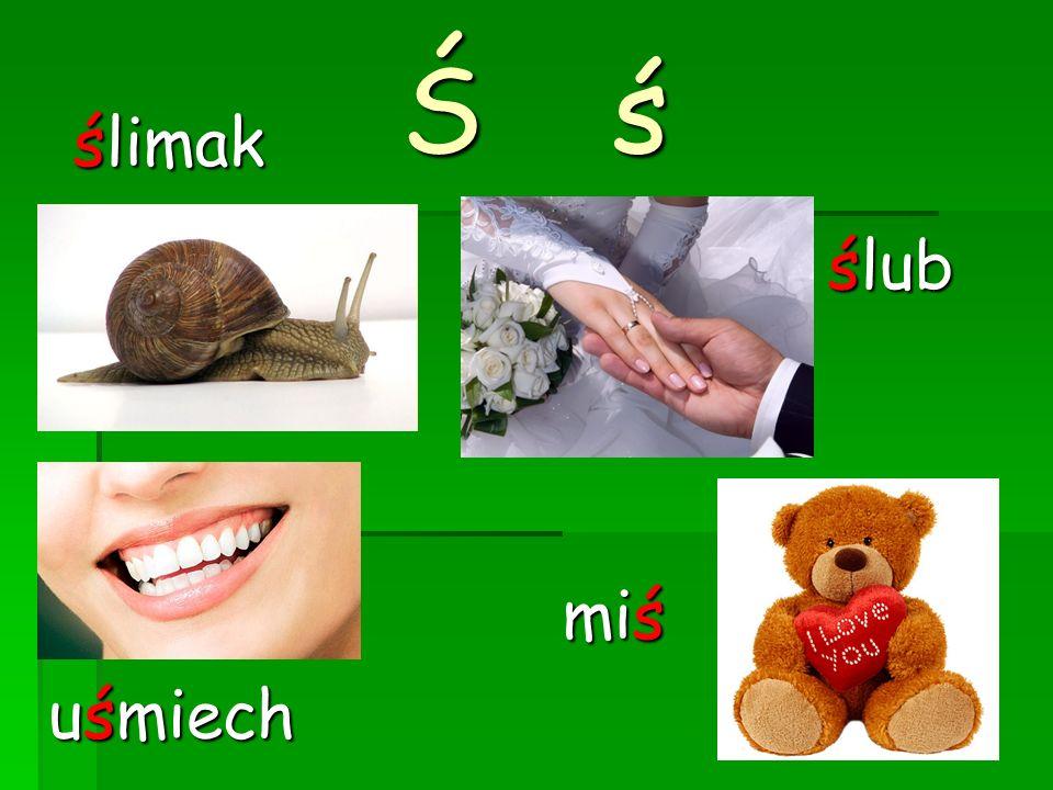 Ś ś ślimak ślub uśmiech miś