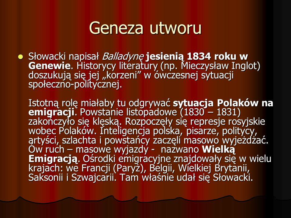 Geneza utworu Słowacki napisał Balladynę jesienią 1834 roku w Genewie. Historycy literatury (np. Mieczysław Inglot) doszukują się jej korzeni w ówczes