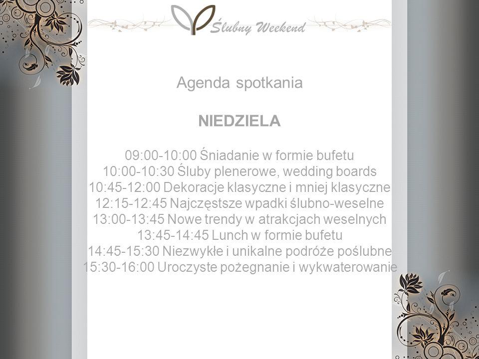 09:00-10:00 Śniadanie w formie bufetu 10:00-10:30 Śluby plenerowe, wedding boards 10:45-12:00 Dekoracje klasyczne i mniej klasyczne 12:15-12:45 Najczę