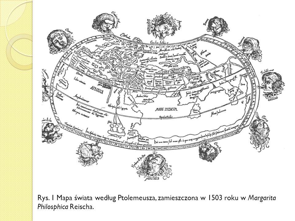 Rys. 1 Mapa świata według Ptolemeusza, zamieszczona w 1503 roku w Margarita Philosphica Reischa.