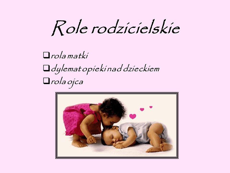 Role rodzicielskie rola matki rola matki dylemat opieki nad dzieckiem dylemat opieki nad dzieckiem rola ojca rola ojca