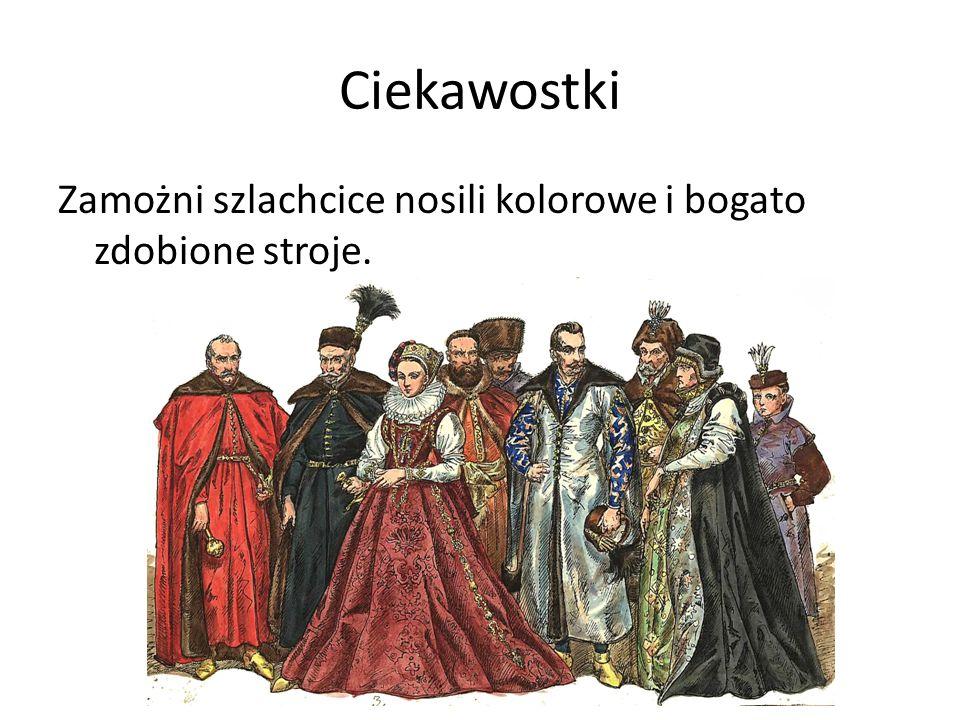 Ciekawostki Zamożni szlachcice nosili kolorowe i bogato zdobione stroje.