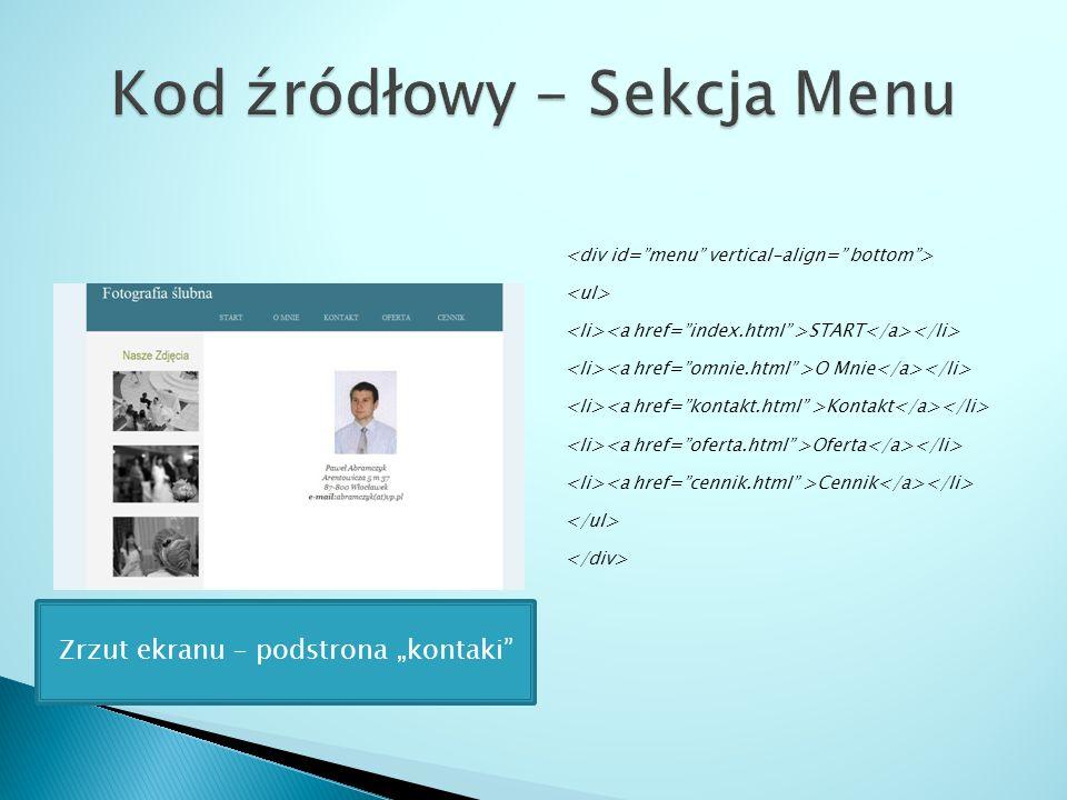 START O Mnie Kontakt Oferta Cennik Zrzut ekranu – podstrona kontaki