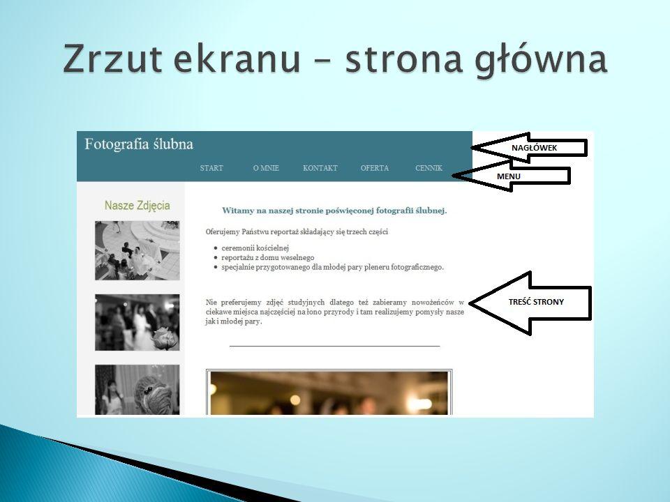 Fotografia ślubna Zrzut ekranu – podstrona o mnie