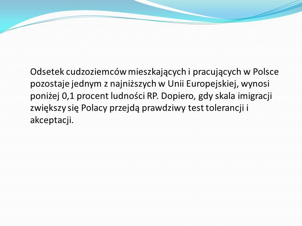 Odsetek cudzoziemców mieszkających i pracujących w Polsce pozostaje jednym z najniższych w Unii Europejskiej, wynosi poniżej 0,1 procent ludności RP.