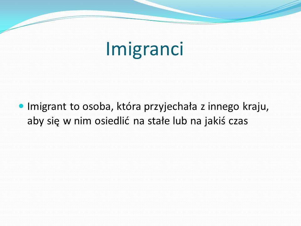 Imigranci Imigrant to osoba, która przyjechała z innego kraju, aby się w nim osiedlić na stałe lub na jakiś czas