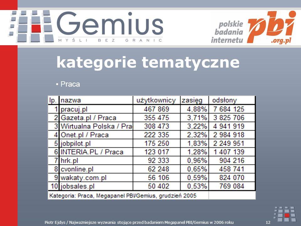 Piotr Ejdys / Najważniejsze wyzwania stojące przed badaniem Megapanel PBI/Gemius w 2006 roku12 kategorie tematyczne Praca