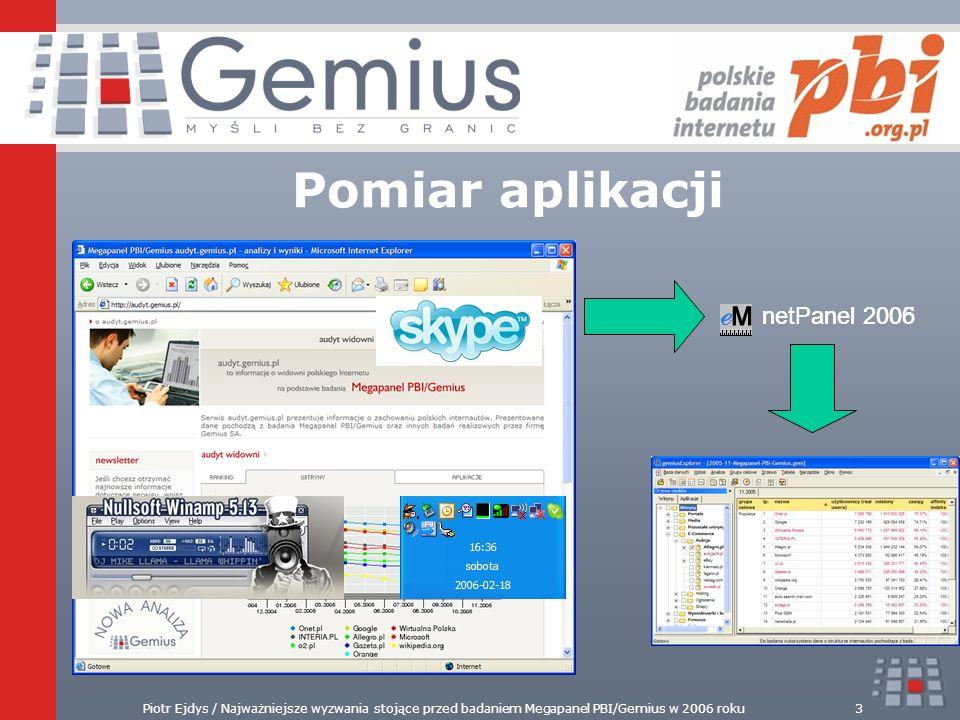 Piotr Ejdys / Najważniejsze wyzwania stojące przed badaniem Megapanel PBI/Gemius w 2006 roku3 netPanel 2005 Pomiar aplikacji netPanel 2006