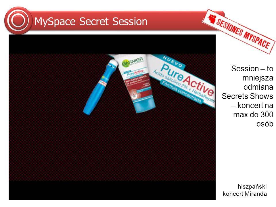 Inwestycja MySpace Secret Shows wyłączne partnerstwo możliwość prowadzenia dodatkowych działań w miejscu akcji logotyp sponsora lub jego brandu we wszystkich reklamach promujących akcję cena uzależniona od gwiazdy mającej dać koncert oraz wybranego miejsca koncertu uwaga: Zdjęcia linkują do filmów z koncertów umieszczonych na MySpace.com w trybie pokaz slajdów