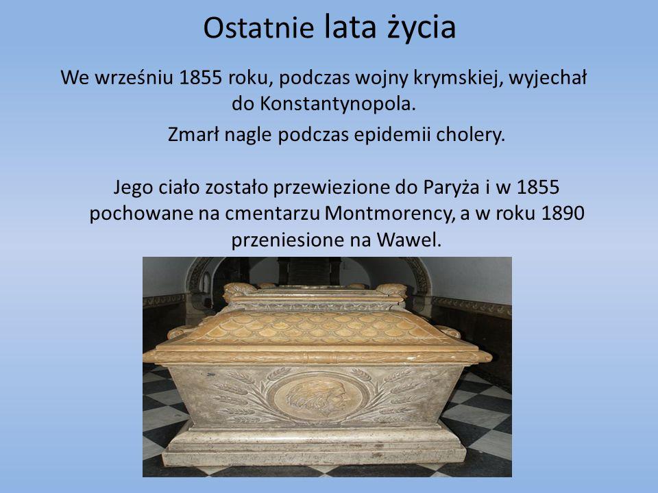 Ostatnie lata życia We wrześniu 1855 roku, podczas wojny krymskiej, wyjechał do Konstantynopola. Zmarł nagle podczas epidemii cholery. Jego ciało zost