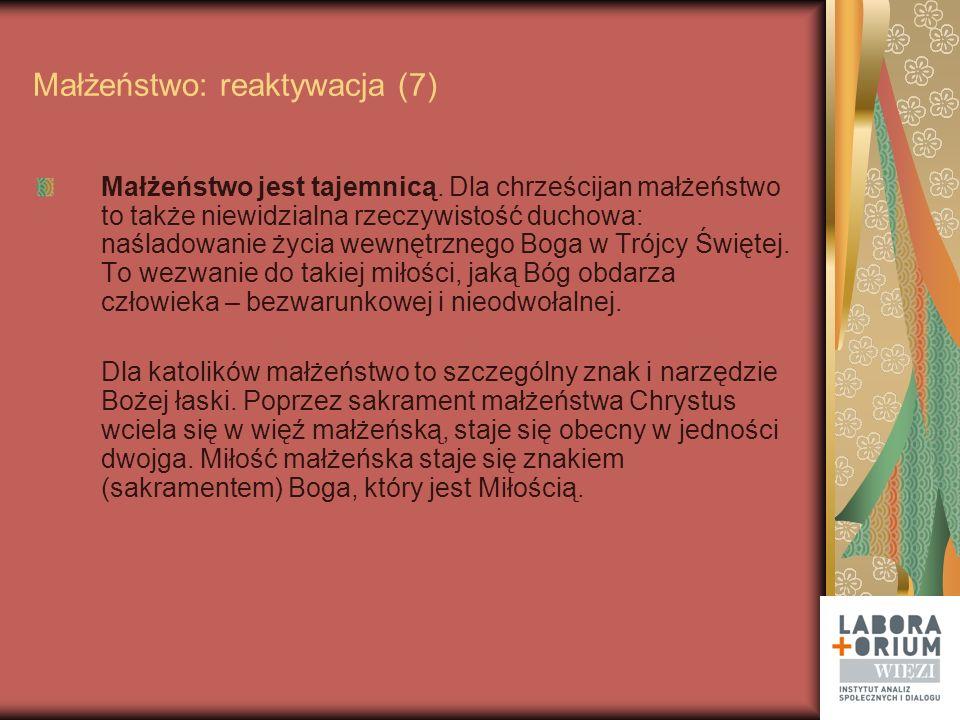 Małżeństwo: reaktywacja Opracowali: Katarzyna Jabłońska, Ewa Karabin, Michał Królikowski, Zbigniew Nosowski, Maria Rogaczewska, Marek Rymsza, Monika Waluś Raport do przeczytania w całości w miesięczniku WIĘŹ 2009 nr 11/12 Zamówienia: www.wiez.plwww.wiez.pl