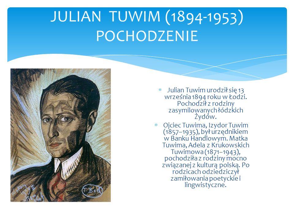 JULIAN TUWIM (1894-1953) POCHODZENIE Julian Tuwim urodził się 13 września 1894 roku w Łodzi. Pochodził z rodziny zasymilowanych łódzkich Żydów. Ojciec
