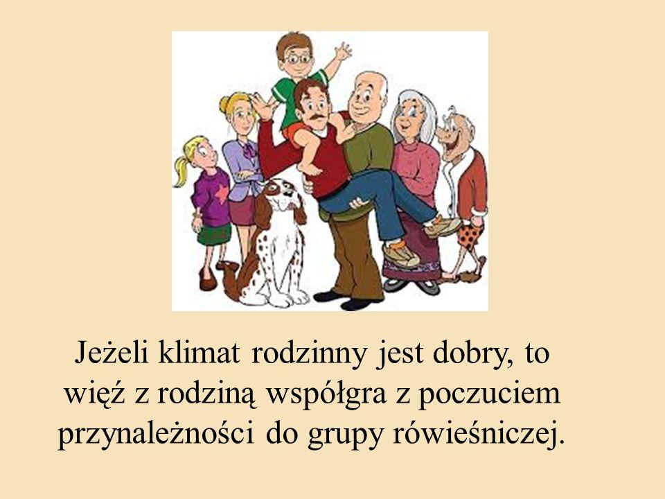 Jeżeli klimat rodzinny jest dobry, to więź z rodziną współgra z poczuciem przynależności do grupy rówieśniczej.