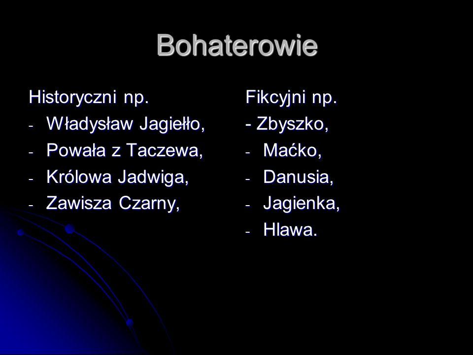 Wątki w powieści - konflikt polsko – krzyżacki, - miłość Zbyszka do Danusi, - uprowadzenie Danusi przez Krzyżaków, - spisek Krzyżaków przeciw Jurandowi, - miłość Zbyszka i Jagienki.