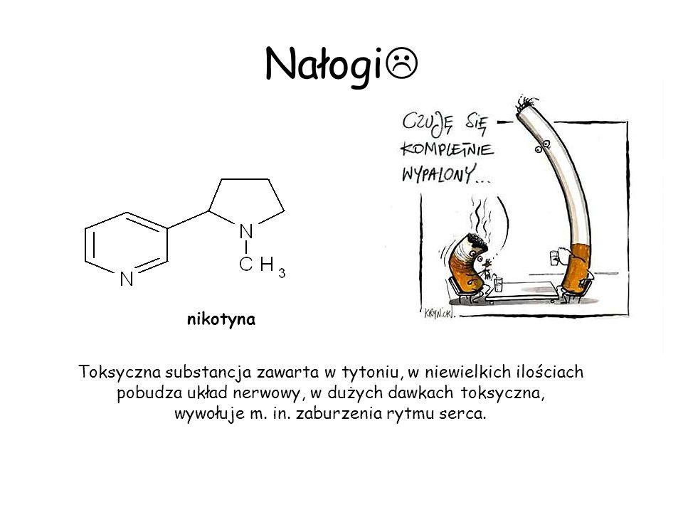 Nałogi nikotyna Toksyczna substancja zawarta w tytoniu, w niewielkich ilościach pobudza układ nerwowy, w dużych dawkach toksyczna, wywołuje m. in. zab