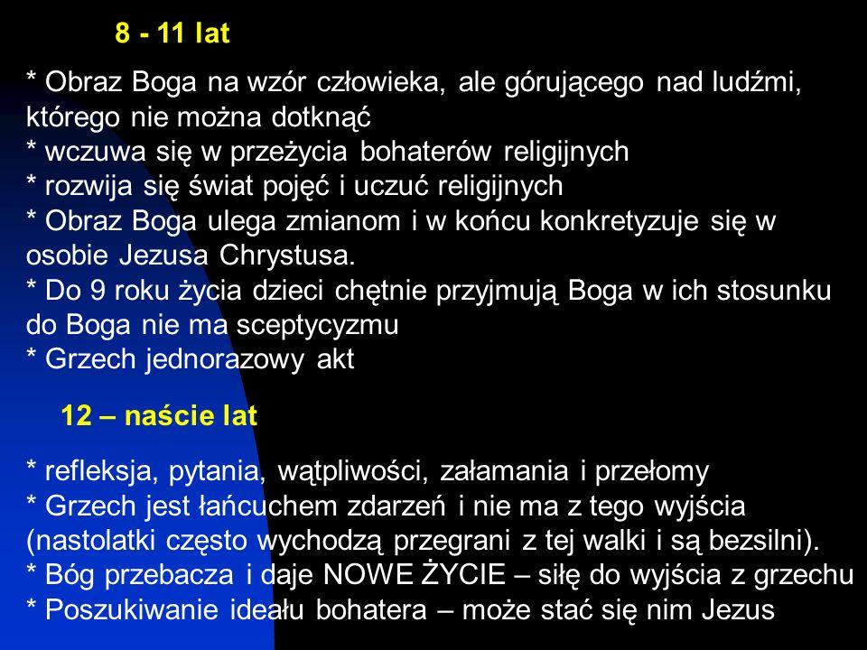 8 - 11 lat * Obraz Boga na wzór człowieka, ale górującego nad ludźmi, którego nie można dotknąć * wczuwa się w przeżycia bohaterów religijnych * rozwi