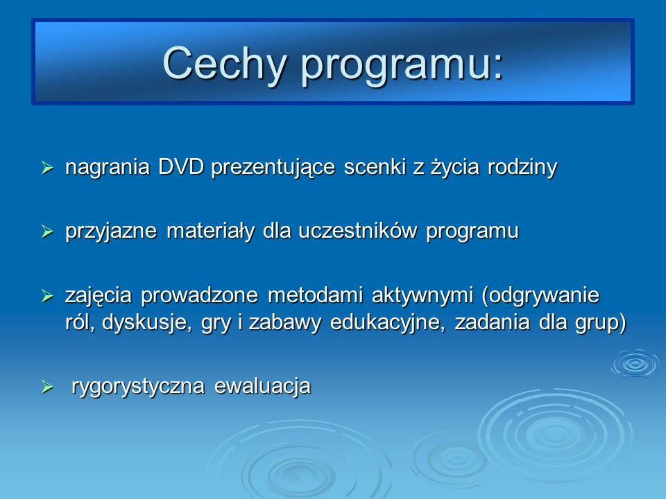 Cechy programu: nagrania DVD prezentujące scenki z życia rodziny nagrania DVD prezentujące scenki z życia rodziny przyjazne materiały dla uczestników