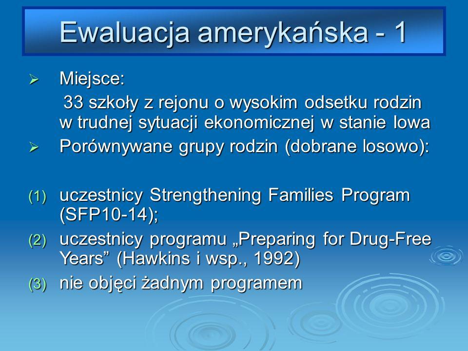 Ewaluacja amerykańska - 1 Miejsce: Miejsce: 33 szkoły z rejonu o wysokim odsetku rodzin w trudnej sytuacji ekonomicznej w stanie Iowa 33 szkoły z rejonu o wysokim odsetku rodzin w trudnej sytuacji ekonomicznej w stanie Iowa Porównywane grupy rodzin (dobrane losowo): Porównywane grupy rodzin (dobrane losowo): (1) uczestnicy Strengthening Families Program (SFP10-14); (2) uczestnicy programu Preparing for Drug-Free Years (Hawkins i wsp., 1992) (3) nie objęci żadnym programem