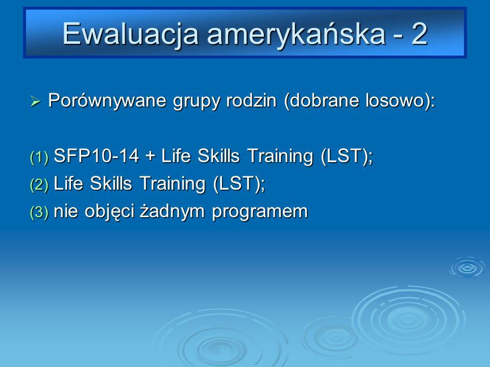 Ewaluacja amerykańska - 2 Porównywane grupy rodzin (dobrane losowo): Porównywane grupy rodzin (dobrane losowo): (1) SFP10-14 + Life Skills Training (LST); (2) Life Skills Training (LST); (3) nie objęci żadnym programem