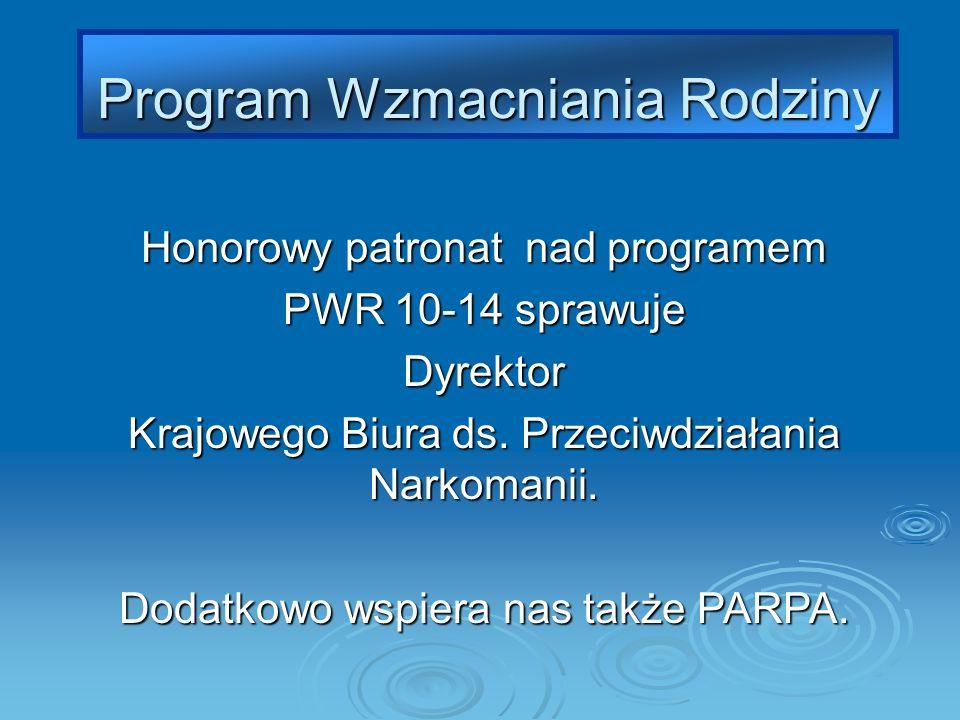 Honorowy patronat nad programem PWR 10-14 sprawuje Dyrektor Krajowego Biura ds. Przeciwdziałania Narkomanii. Dodatkowo wspiera nas także PARPA. Progra