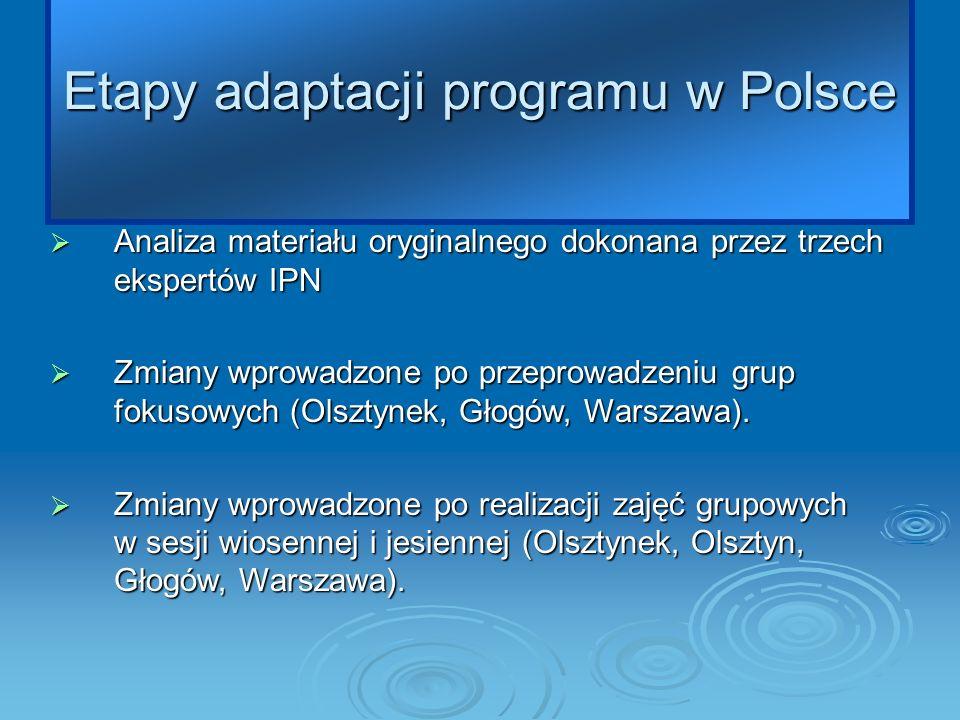 Etapy adaptacji programu w Polsce Analiza materiału oryginalnego dokonana przez trzech ekspertów IPN Analiza materiału oryginalnego dokonana przez trzech ekspertów IPN Zmiany wprowadzone po przeprowadzeniu grup fokusowych (Olsztynek, Głogów, Warszawa).