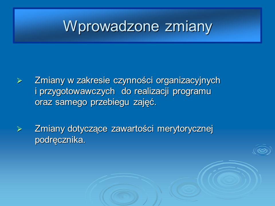 Wprowadzone zmiany Zmiany w zakresie czynności organizacyjnych i przygotowawczych do realizacji programu oraz samego przebiegu zajęć.