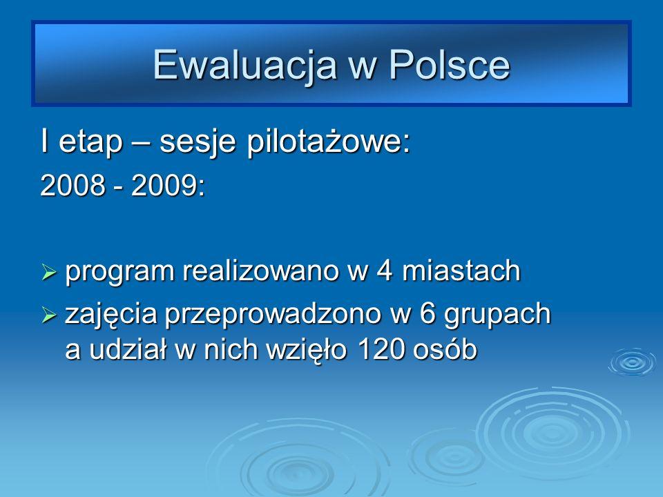 Ewaluacja w Polsce I etap – sesje pilotażowe: 2008 - 2009: program realizowano w 4 miastach program realizowano w 4 miastach zajęcia przeprowadzono w 6 grupach a udział w nich wzięło 120 osób zajęcia przeprowadzono w 6 grupach a udział w nich wzięło 120 osób