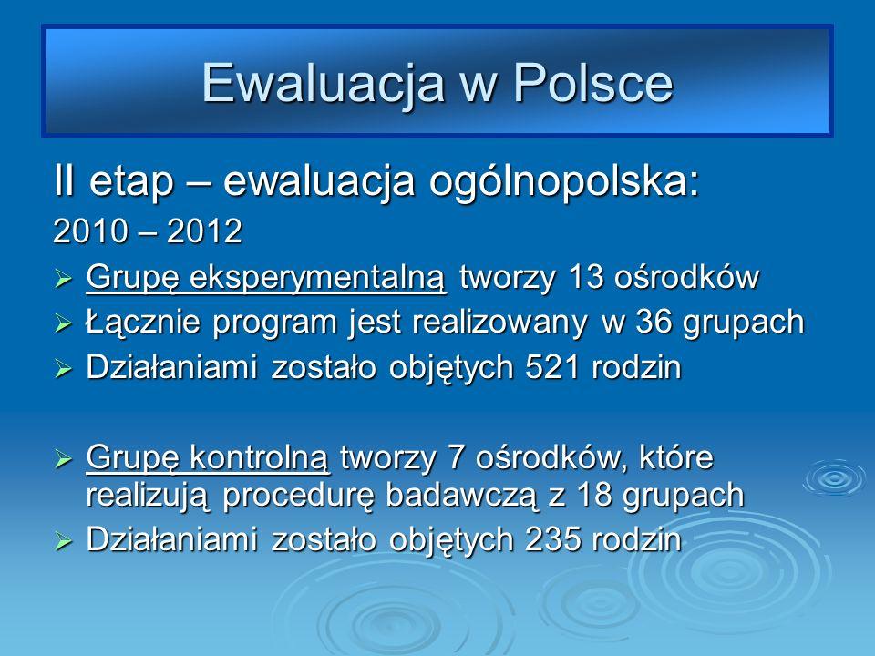 Ewaluacja w Polsce II etap – ewaluacja ogólnopolska: 2010 – 2012 Grupę eksperymentalną tworzy 13 ośrodków Grupę eksperymentalną tworzy 13 ośrodków Łącznie program jest realizowany w 36 grupach Łącznie program jest realizowany w 36 grupach Działaniami zostało objętych 521 rodzin Działaniami zostało objętych 521 rodzin Grupę kontrolną tworzy 7 ośrodków, które realizują procedurę badawczą z 18 grupach Grupę kontrolną tworzy 7 ośrodków, które realizują procedurę badawczą z 18 grupach Działaniami zostało objętych 235 rodzin Działaniami zostało objętych 235 rodzin