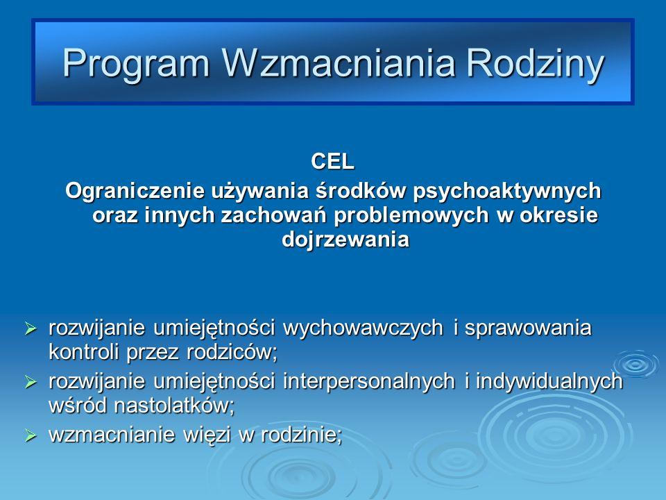 Program Wzmacniania Rodziny CEL Ograniczenie używania środków psychoaktywnych oraz innych zachowań problemowych w okresie dojrzewania rozwijanie umiejętności wychowawczych i sprawowania kontroli przez rodziców; rozwijanie umiejętności wychowawczych i sprawowania kontroli przez rodziców; rozwijanie umiejętności interpersonalnych i indywidualnych wśród nastolatków; rozwijanie umiejętności interpersonalnych i indywidualnych wśród nastolatków; wzmacnianie więzi w rodzinie; wzmacnianie więzi w rodzinie;