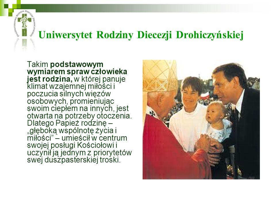Uniwersytet Rodziny Diecezji Drohiczyńskiej Takim podstawowym wymiarem spraw człowieka jest rodzina, w której panuje klimat wzajemnej miłości i poczuc