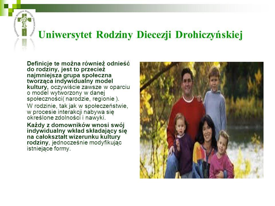 Uniwersytet Rodziny Diecezji Drohiczyńskiej Definicje te można również odnieść do rodziny, jest to przecież najmniejsza grupa społeczna tworząca indywidualny model kultury, oczywiście zawsze w oparciu o model wytworzony w danej społeczności( narodzie, regionie ).