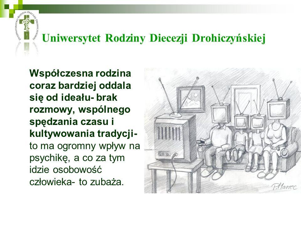 Uniwersytet Rodziny Diecezji Drohiczyńskiej Współczesna rodzina coraz bardziej oddala się od ideału- brak rozmowy, wspólnego spędzania czasu i kultywo