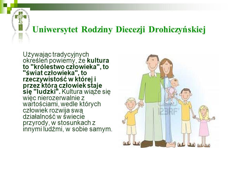 Uniwersytet Rodziny Diecezji Drohiczyńskiej Używając tradycyjnych określeń powiemy, że kultura to
