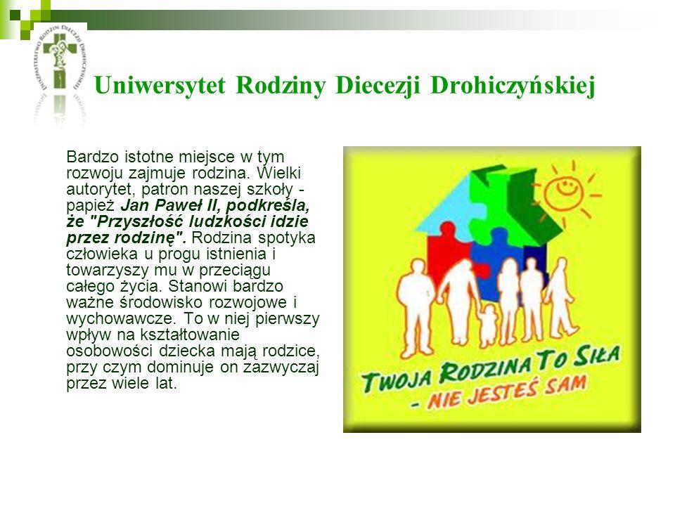 Uniwersytet Rodziny Diecezji Drohiczyńskiej Bardzo istotne miejsce w tym rozwoju zajmuje rodzina. Wielki autorytet, patron naszej szkoły - papież Jan