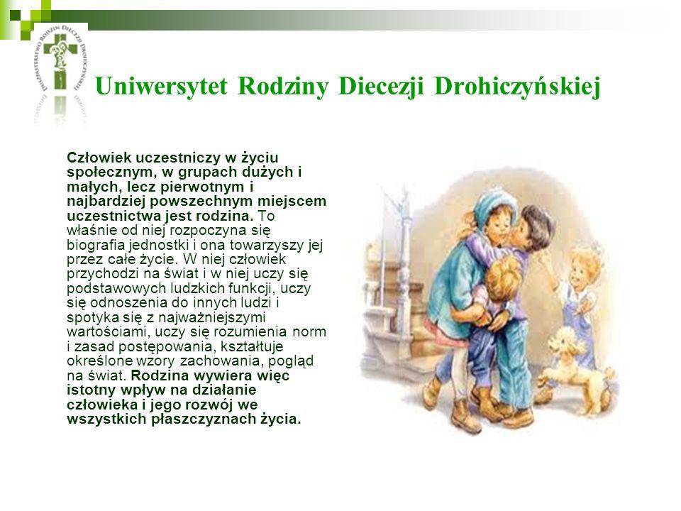 Uniwersytet Rodziny Diecezji Drohiczyńskiej Człowiek uczestniczy w życiu społecznym, w grupach dużych i małych, lecz pierwotnym i najbardziej powszechnym miejscem uczestnictwa jest rodzina.