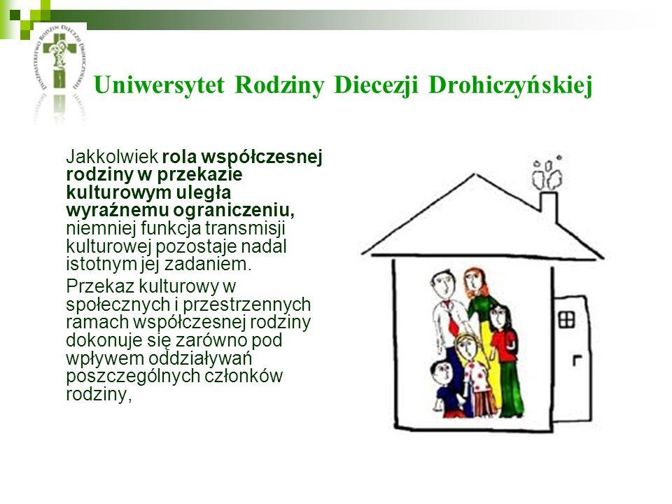 Uniwersytet Rodziny Diecezji Drohiczyńskiej Jakkolwiek rola współczesnej rodziny w przekazie kulturowym uległa wyraźnemu ograniczeniu, niemniej funkcja transmisji kulturowej pozostaje nadal istotnym jej zadaniem.
