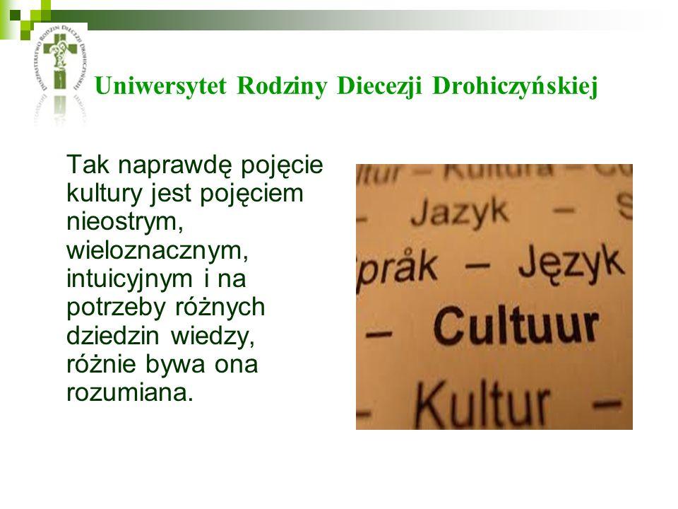 Uniwersytet Rodziny Diecezji Drohiczyńskiej Tak naprawdę pojęcie kultury jest pojęciem nieostrym, wieloznacznym, intuicyjnym i na potrzeby różnych dziedzin wiedzy, różnie bywa ona rozumiana.